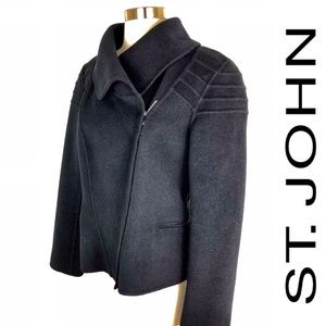 St. John Wool Cashmere Angora Black Moto Jacket 8